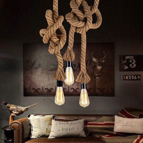 Luminaire rustique corde vintage retro