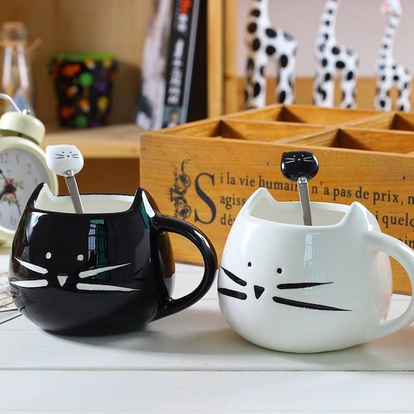 Mug chat avec cuillere