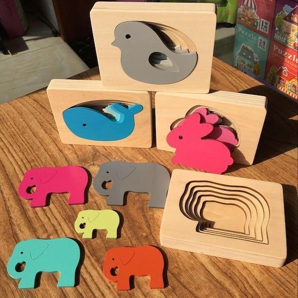 Puzzle 3D en bois montessori