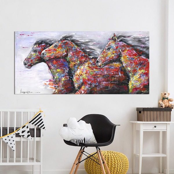 tableau cheval colore