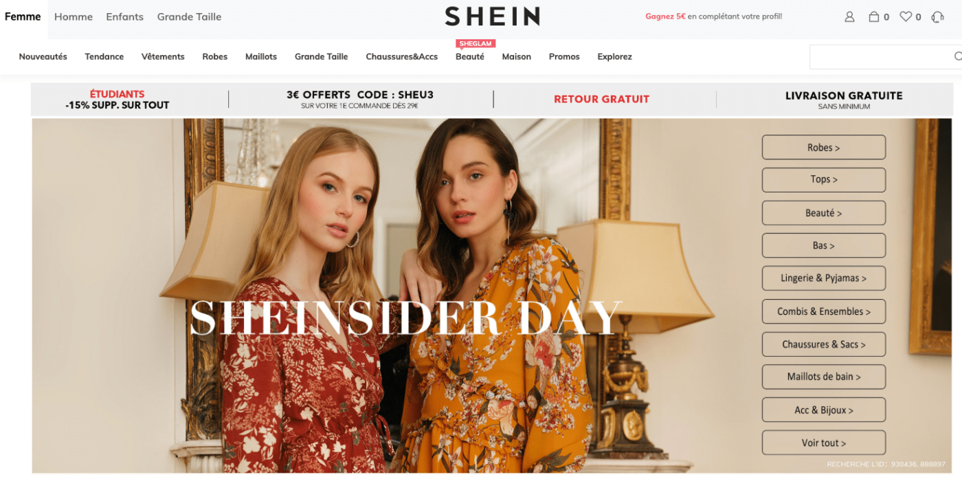 shein site chinois vetements faible